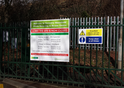Bespoke Gate HEalth & Safety Information Signs
